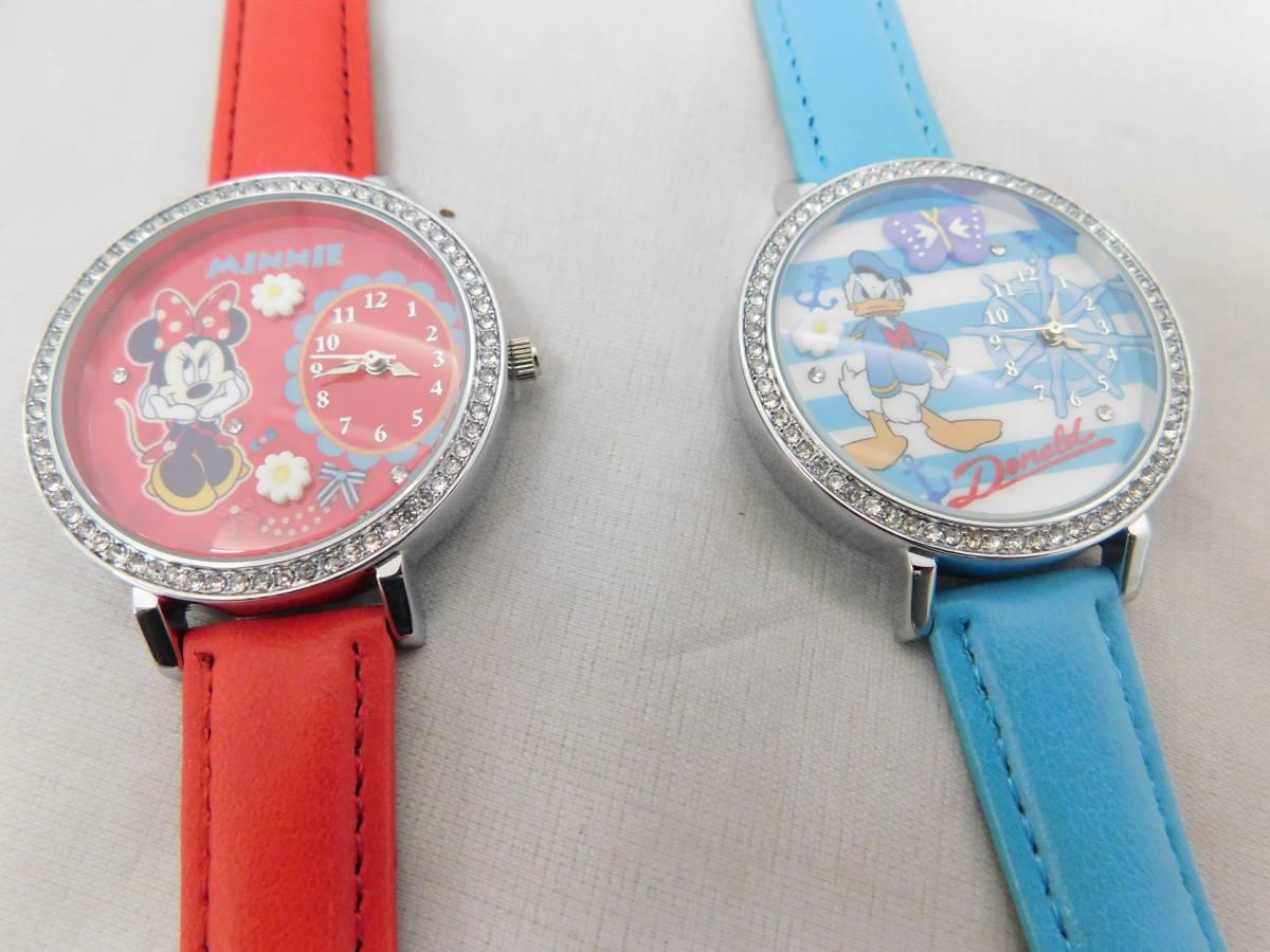 ☆05-40 ディズニー腕時計2個 置き時計 パスケース グッズセット ミッキー&ミニー Disney_画像6