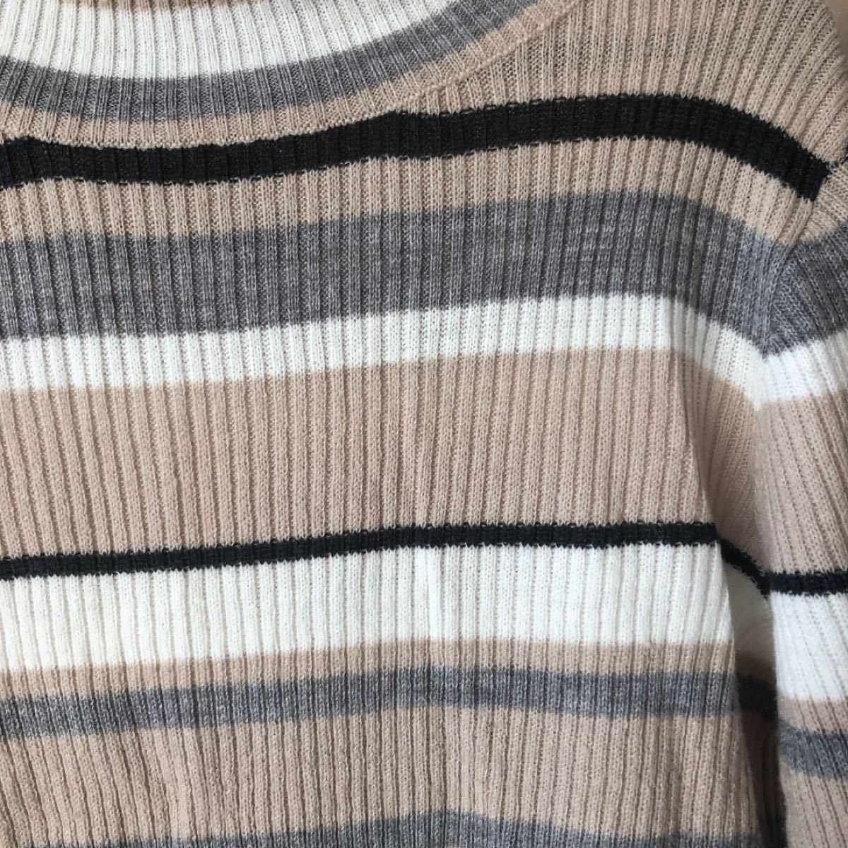 長袖ネックニットセーター ボーダー