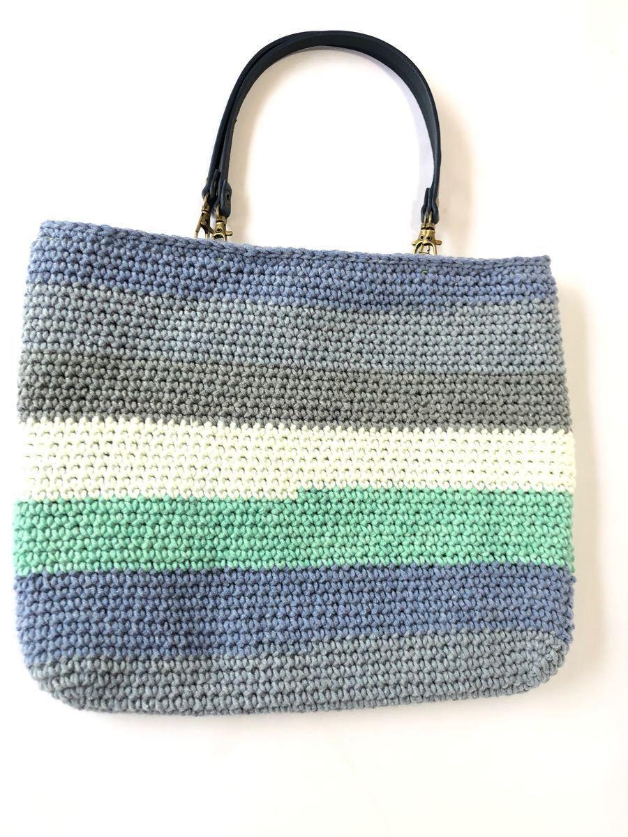 ハンドメイド 手編み 裏布ポケット付き 手提げバック(ブルー系) トートバッグ