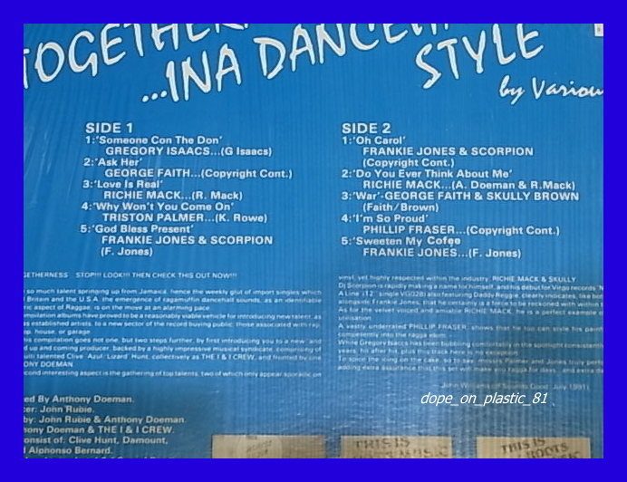 V.A./Togetherness... Ina Dancehall Style/Gregory Isaacs/Frankie Jones/ダンスホール/3点以上で送料無料、10点以上で10%割引!!!/LP_画像2