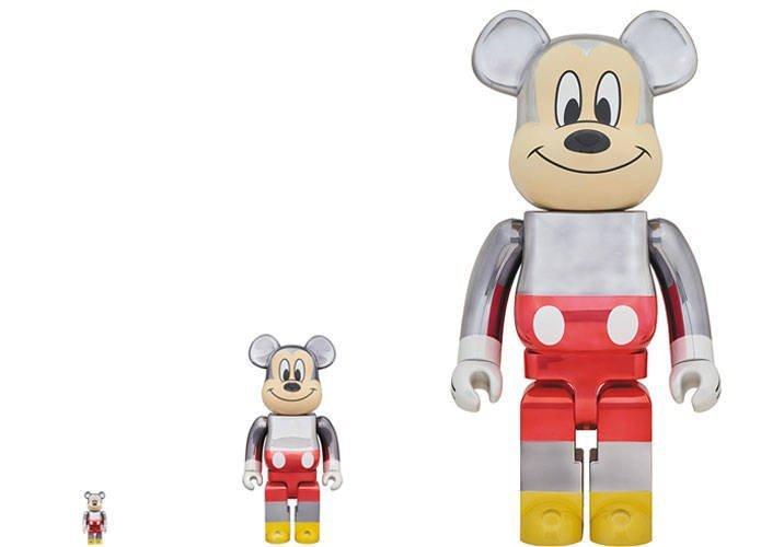 新品 BE@RBRICK fragment design MICKEY MOUSE COLOR Ver.100% & 400% & 1000% 3体セット 90周年 Disney 藤原ヒロシ Hiroshi Fujiwara_画像1