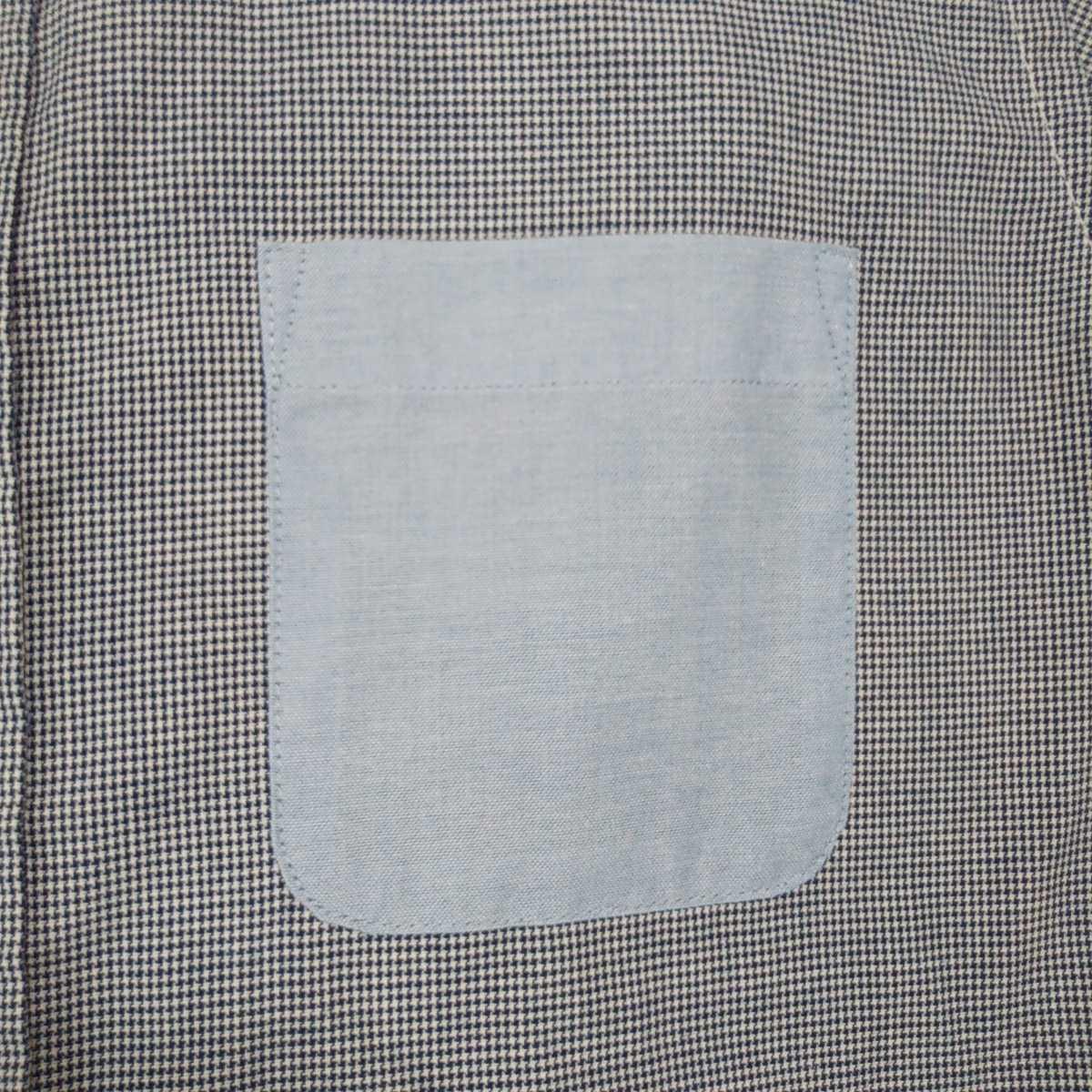 ☆1~2度使用☆イオン トップバリュー スマートスタンダード メンズ 長袖シャツ Mサイズ 爽やか 千鳥柄 ネイビー 紺×白 胸ポケット _画像8
