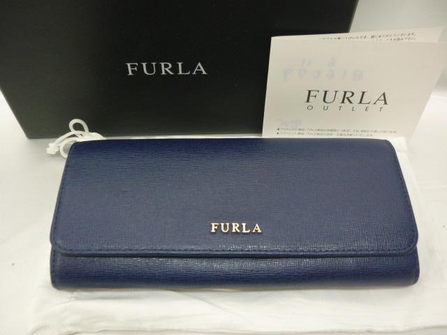 FURLA フルラ レザー 二つ折り 長財布 青紫系 ※定形外510円発送可_画像1