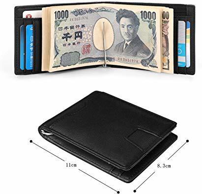 Ca3100v ◆▲L POオールブラック SHINPACKZM-Gマネークリップ 小銭入れ付き メンズ 財布 二つ折り 7枚カ_画像7