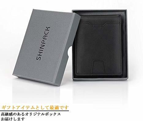 Ca3100v ◆▲L POオールブラック SHINPACKZM-Gマネークリップ 小銭入れ付き メンズ 財布 二つ折り 7枚カ_画像8