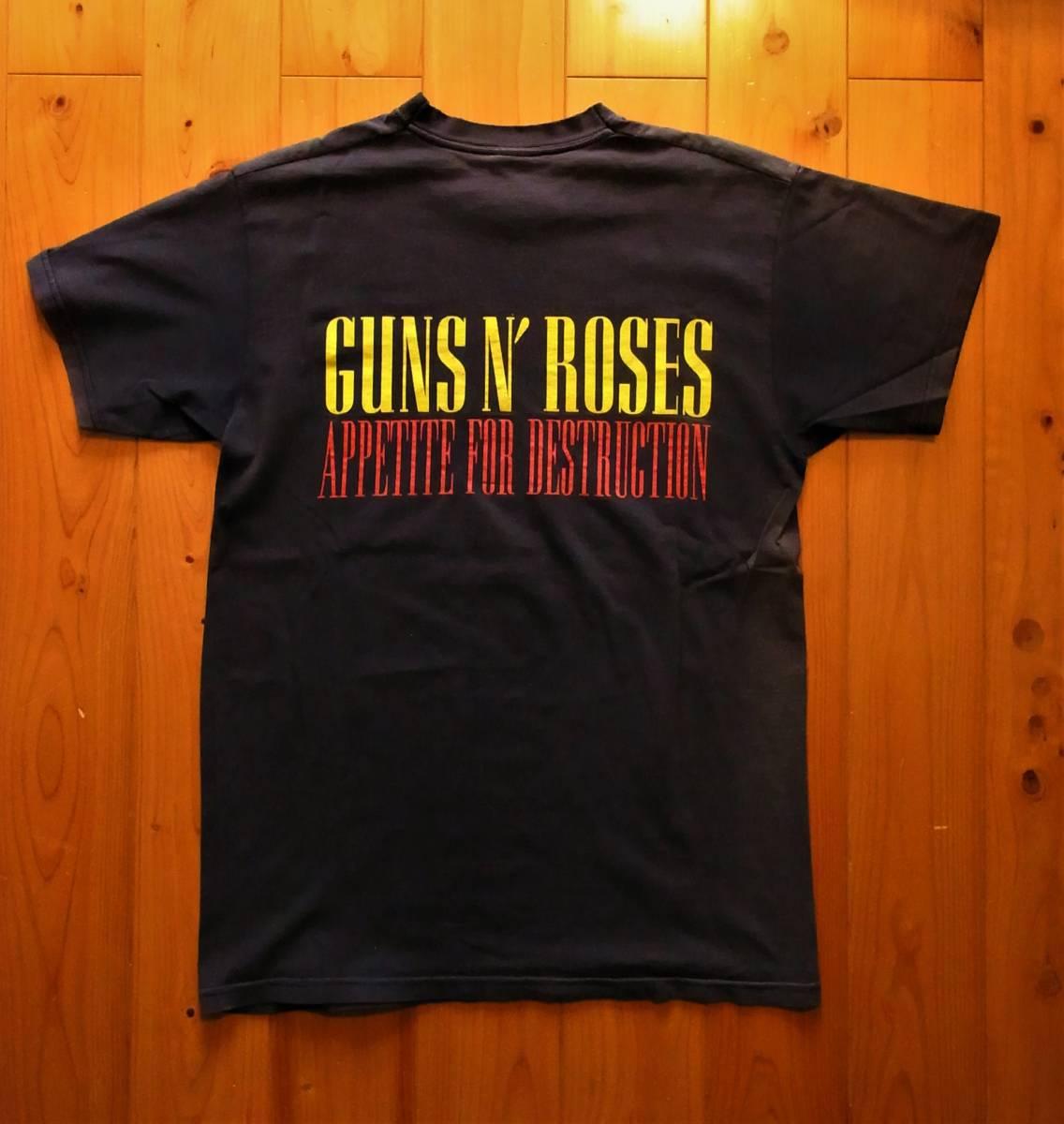 【GUNS N' ROSES/ビンテージ Tシャツ S 希少 名作 ガンズアンドローゼス APPETITE FOR DESTRUCTION 90's 80's 送料無料】_画像2