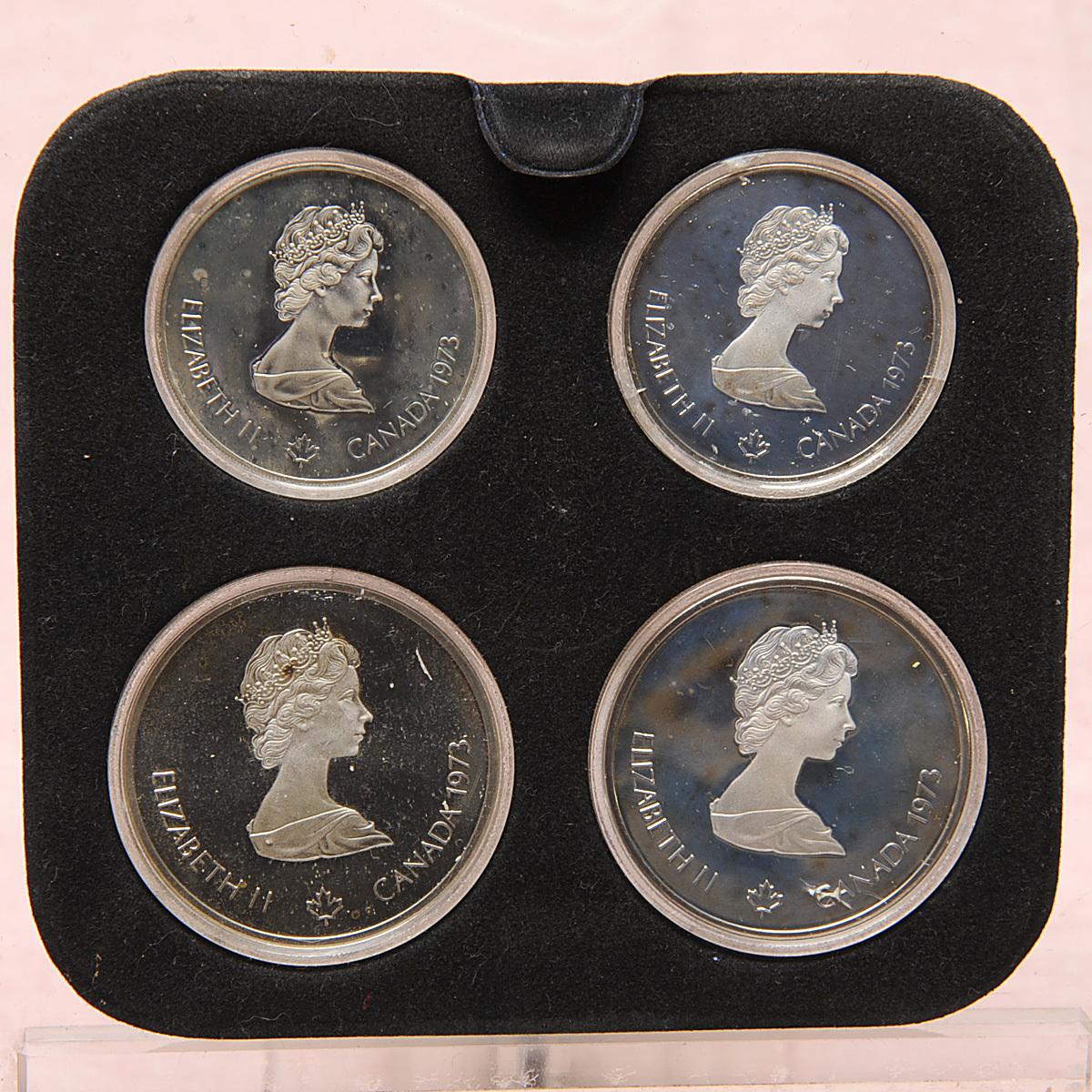 モントリオールオリンピック 10ドル銀貨×2枚 5ドル銀貨×2枚 送料無料 【m76】 1976年 カナダ COJO76 RENWICK 記念硬貨 エリザベス2世_画像2