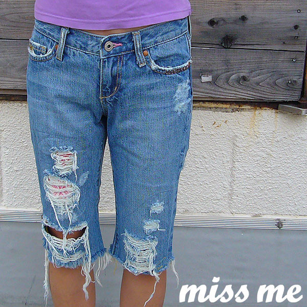 Miss Me ミスミー クラッシュ デニム 刺繍 ハーフパンツ カプリパンツ 26インチ_画像1