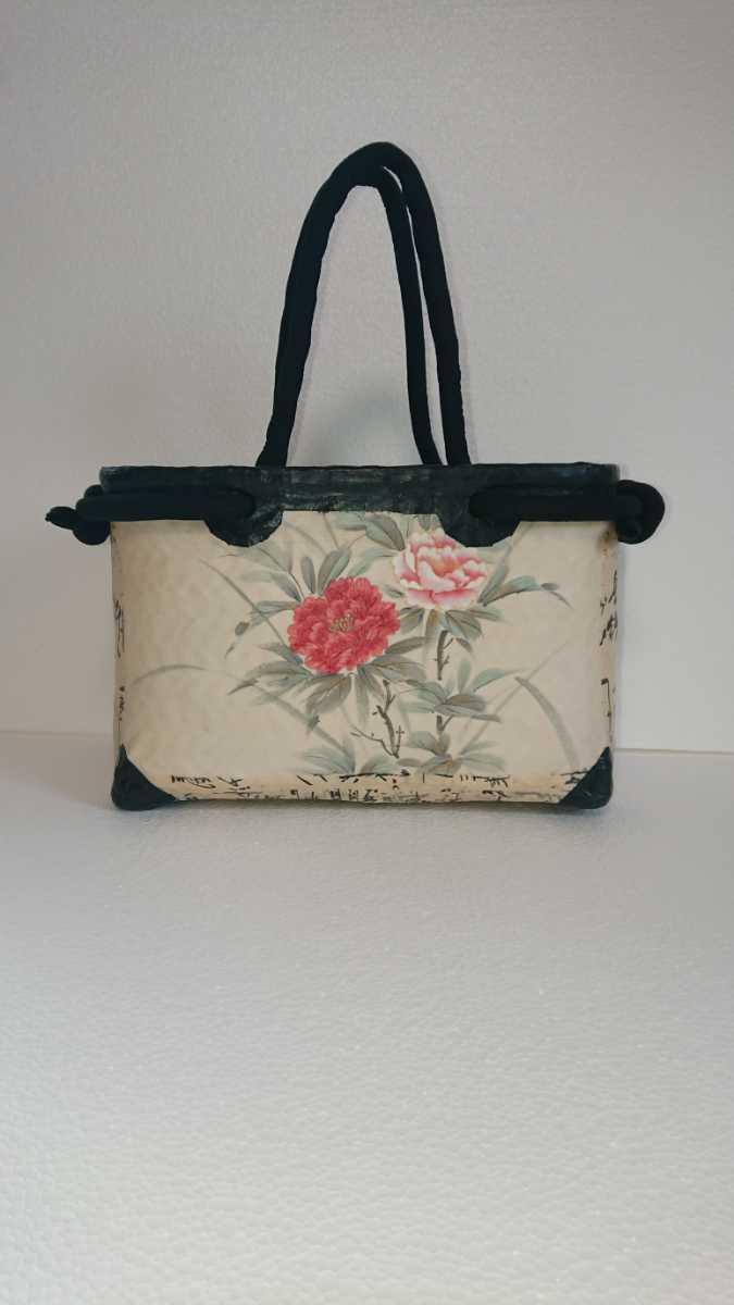 一閑張り かごバッグ No.29 牡丹刺繍_画像1