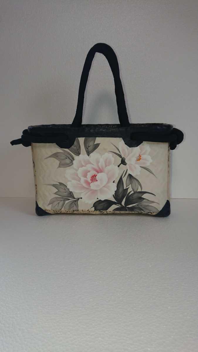 一閑張り かごバッグ No.29 牡丹刺繍_画像2