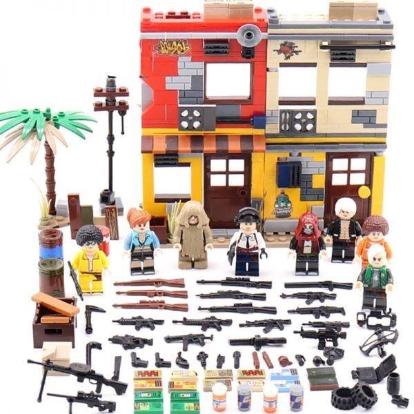 ★最安 安心の国内対応★MOC LEGO レゴ 互換 PUBG プレイヤーアンノウンズ バトルグラウンズ 建物 ミニフィグ 6体セット大量武器装備付き_画像1