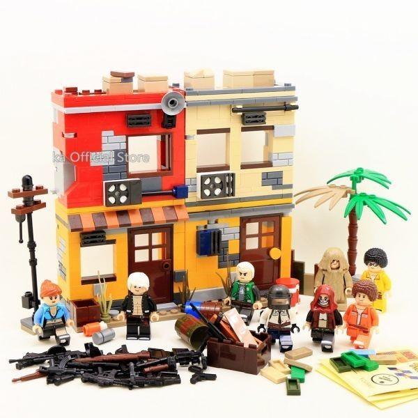★最安 安心の国内対応★MOC LEGO レゴ 互換 PUBG プレイヤーアンノウンズ バトルグラウンズ 建物 ミニフィグ 6体セット大量武器装備付き_画像5