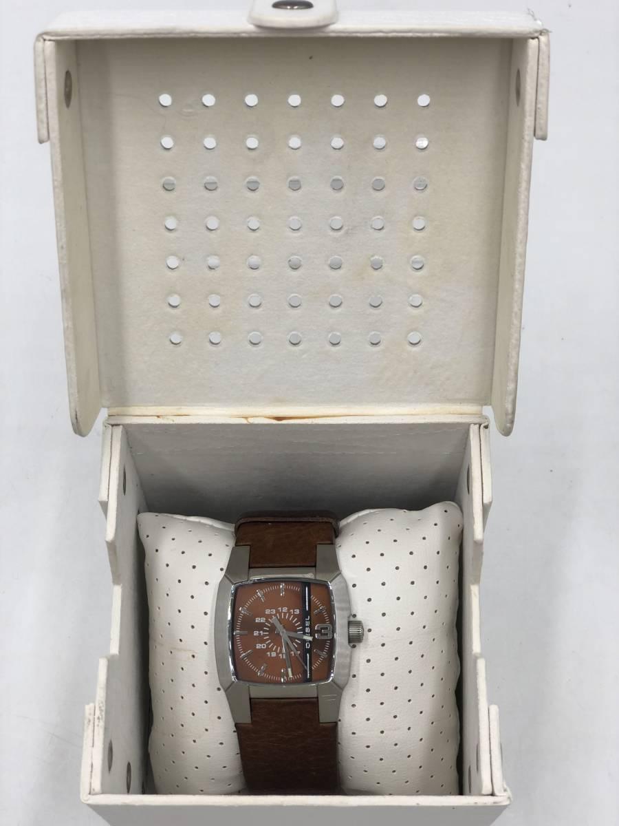 電池交換済み◎ディーゼル DIESEL メンズ腕時計 DZ-1090 ブラウン革ベルト ケース付き 稼働品 紳士_画像1