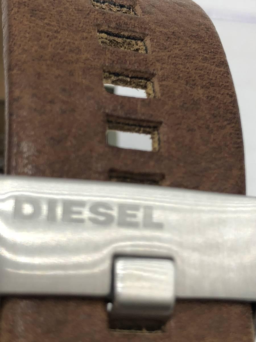 電池交換済み◎ディーゼル DIESEL メンズ腕時計 DZ-1090 ブラウン革ベルト ケース付き 稼働品 紳士_画像6