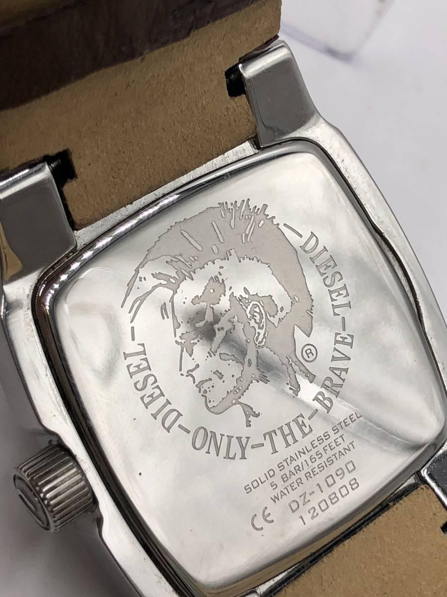 電池交換済み◎ディーゼル DIESEL メンズ腕時計 DZ-1090 ブラウン革ベルト ケース付き 稼働品 紳士_画像8