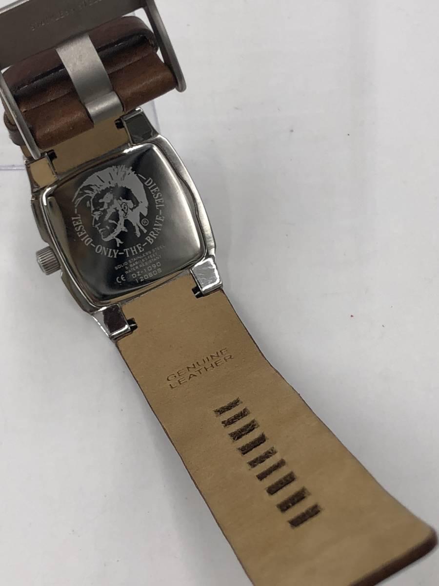 電池交換済み◎ディーゼル DIESEL メンズ腕時計 DZ-1090 ブラウン革ベルト ケース付き 稼働品 紳士_画像9