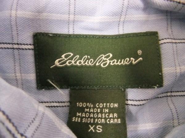 Eddie Bauer エディーバウアー XS メンズ シャツ 長袖 プラケットフロント ポケット チェック ボタンダウン 綿100% 薄紺 ライトネイビー_画像2