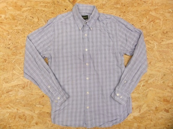 Eddie Bauer エディーバウアー XS メンズ シャツ 長袖 プラケットフロント ポケット チェック ボタンダウン 綿100% 薄紺 ライトネイビー_画像1