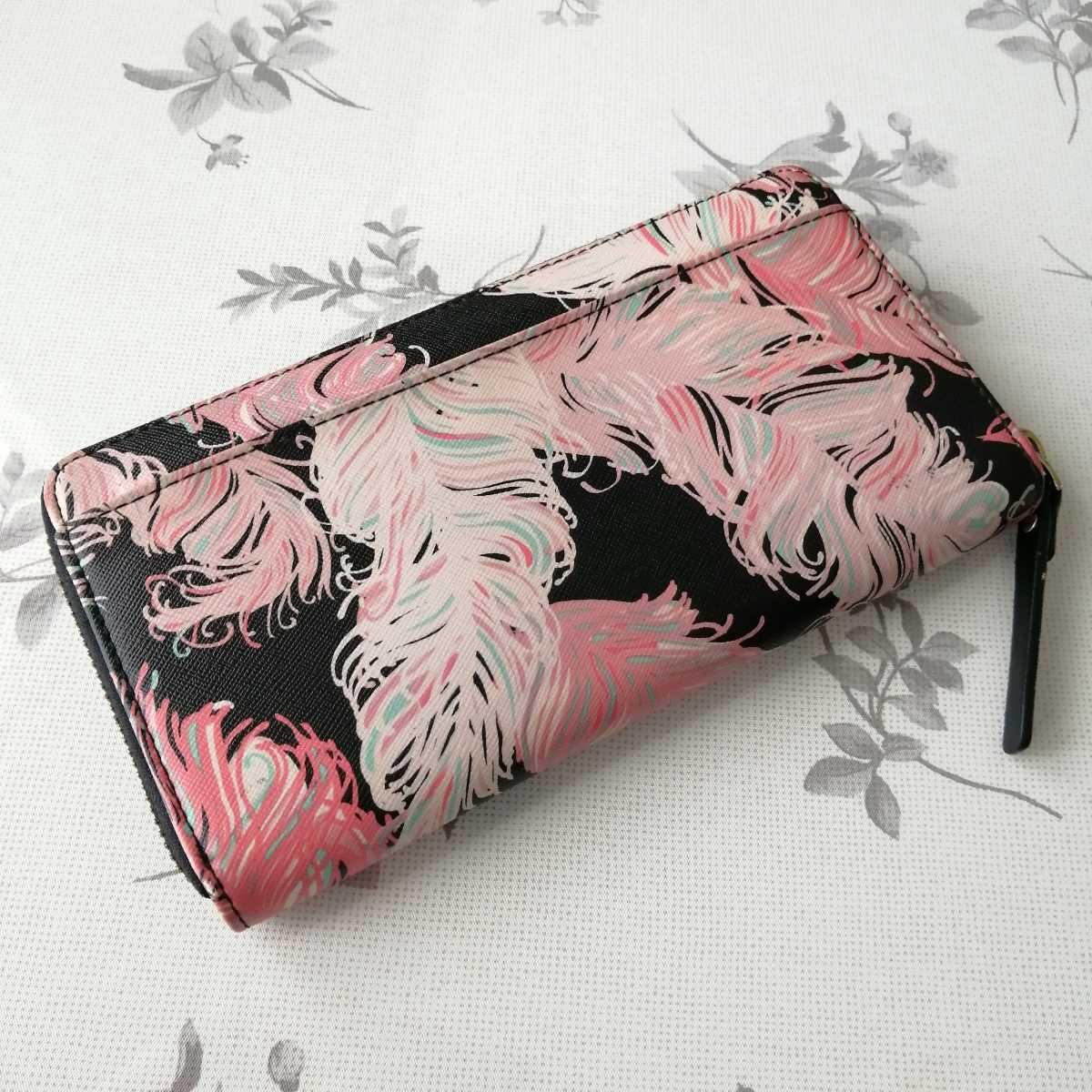 中古 ケイト・スペード kate spade 財布 WLRU2248 レザー フェザー柄 ラウンドファスナー 長財布 ブラック×マルチカラー