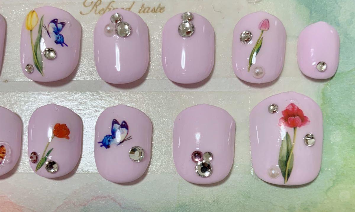 2-6 春ネイル 淡いピンクベース キラキラ花ネイル_画像2