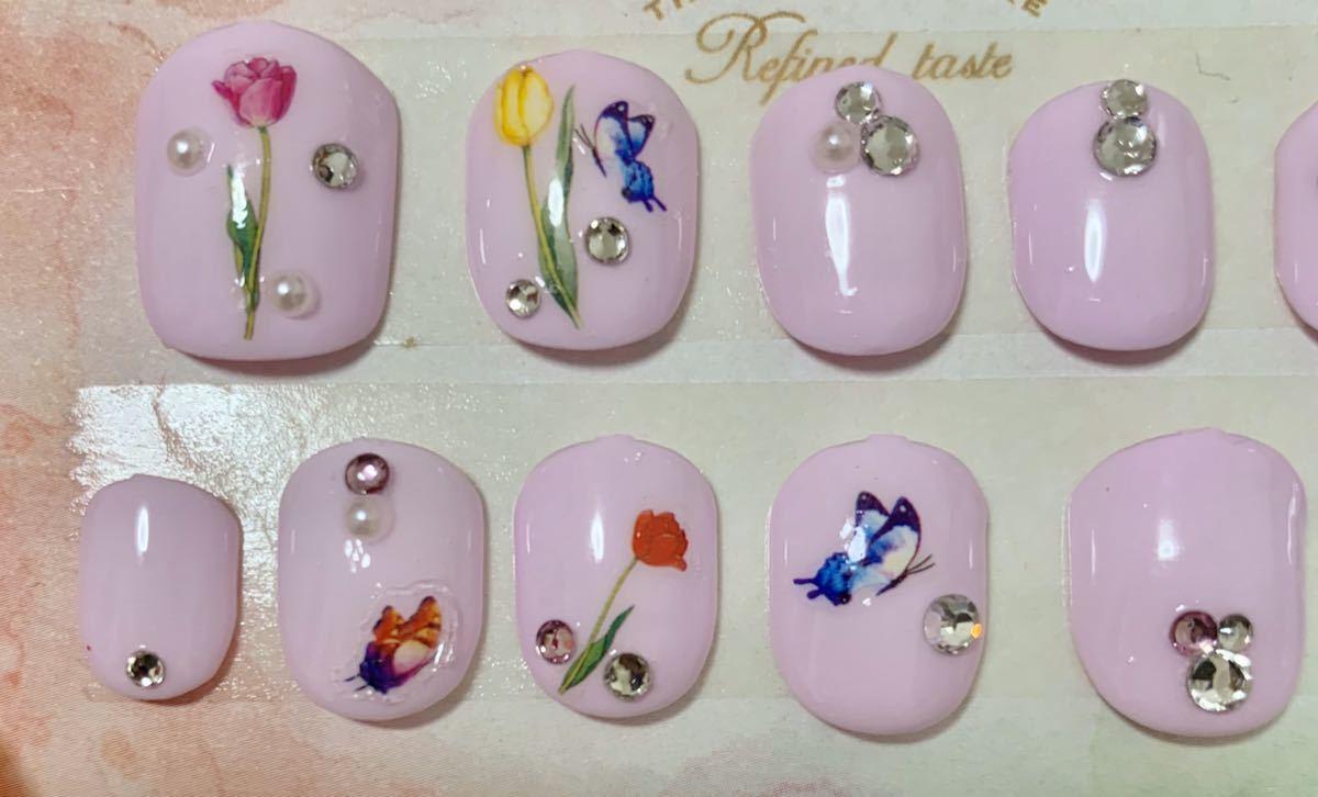 2-6 春ネイル 淡いピンクベース キラキラ花ネイル_画像3
