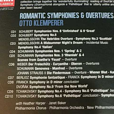オットー・クレンペラー ★ロマン派 CD10枚組ボックス Otto Klemperer: Romantic Symphonies & Overtures _画像2