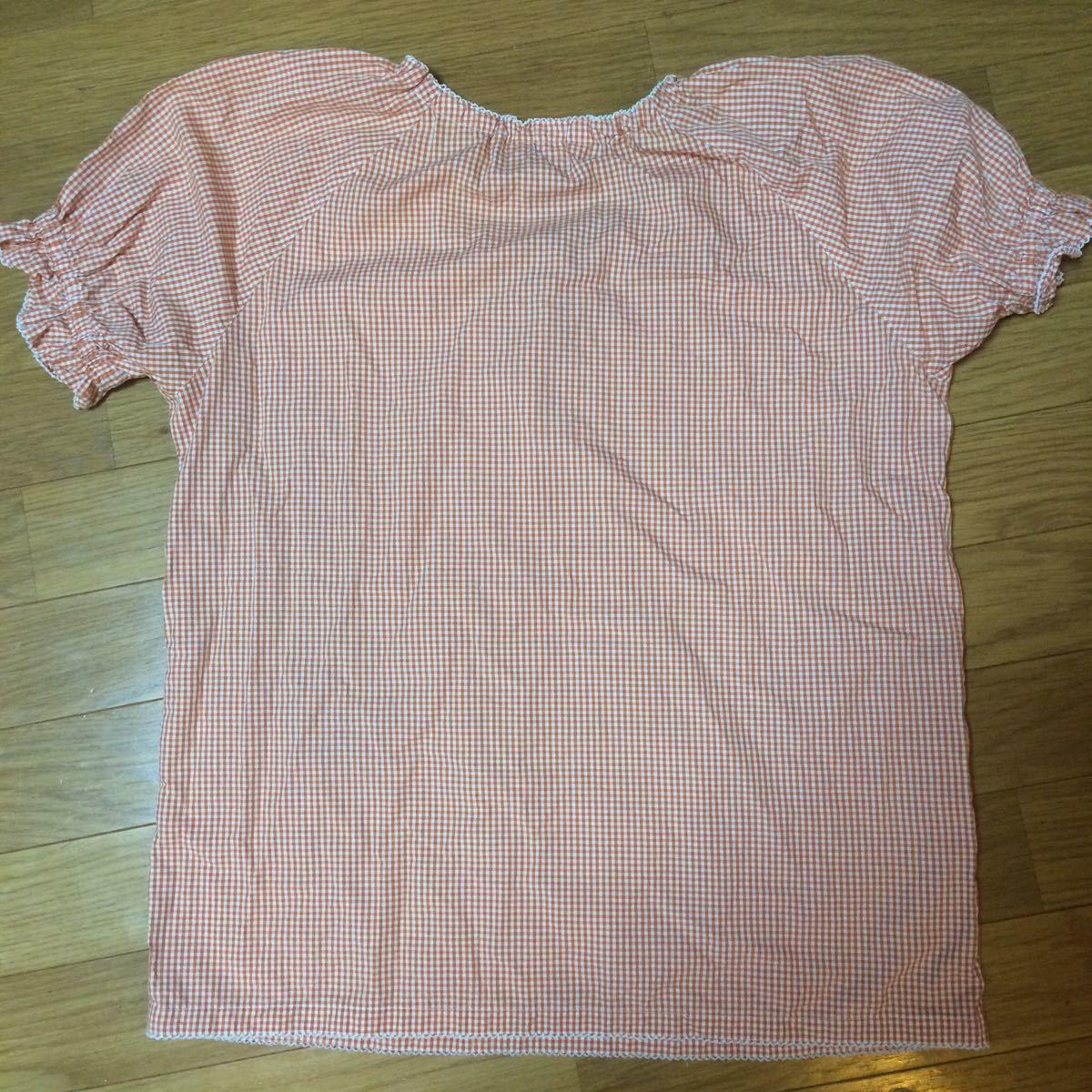 ピンクハウス オレンジ×白色チェック柄の半袖ブラウス