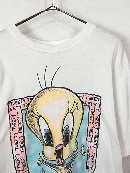 古着 90s LOONEY TUNES TWEETY トゥイーティー キャラクター BIG プリント コットン Tシャツ L 古着_画像2