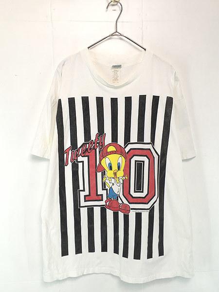 古着 90s USA製 LOONEY TUNES TWEETY トゥイーティー キャラクター ナンバリング ストライプ コットン Tシャツ XL位 古着_画像1