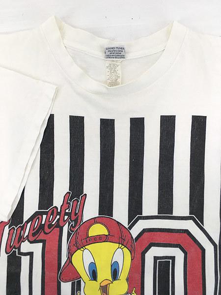古着 90s USA製 LOONEY TUNES TWEETY トゥイーティー キャラクター ナンバリング ストライプ コットン Tシャツ XL位 古着_画像3