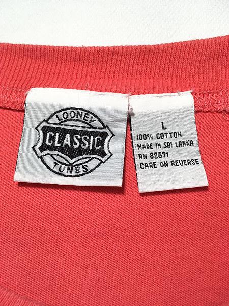 古着 90s LOONEY TUNES TWEETY トゥイーティー シルベスター キャラクター 刺しゅう 100%コットン Tシャツ L 古着_画像5