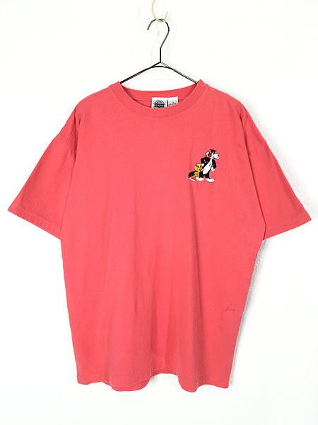 古着 90s LOONEY TUNES TWEETY トゥイーティー シルベスター キャラクター 刺しゅう 100%コットン Tシャツ L 古着_画像1