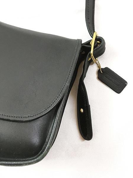 雑貨 古着 USA製 OLD COACH コーチ 本革 レザー フラップ ショルダー バッグ 中型 黒 古着_画像3