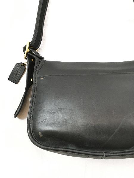 雑貨 古着 USA製 OLD COACH コーチ 本革 レザー フラップ ショルダー バッグ 中型 黒 古着_画像6