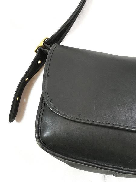 雑貨 古着 USA製 OLD COACH コーチ 本革 レザー フラップ ショルダー バッグ 中型 黒 古着_画像2