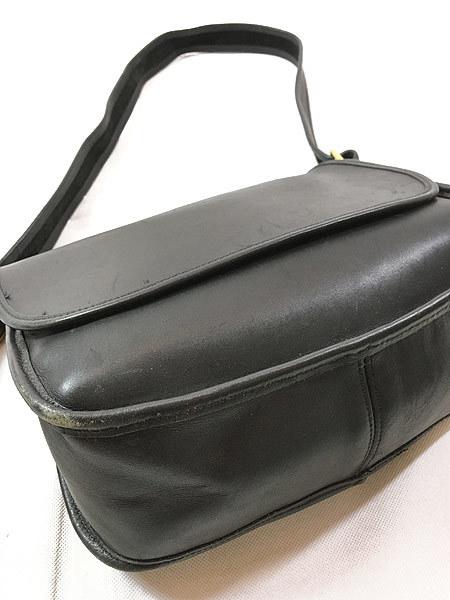 雑貨 古着 USA製 OLD COACH コーチ 本革 レザー フラップ ショルダー バッグ 中型 黒 古着_画像4