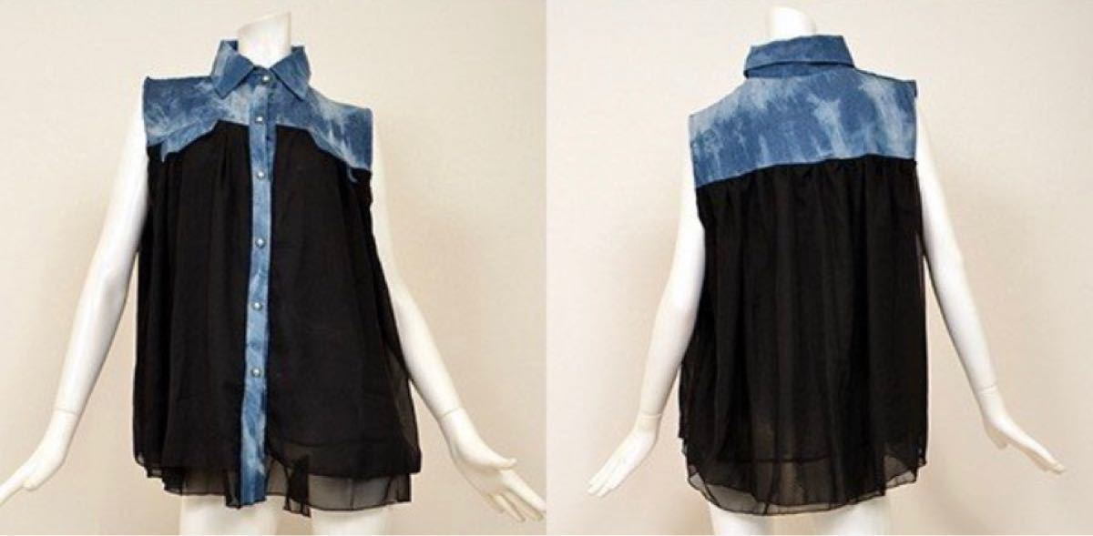 ノースリーブシャツ シフォンブラウス フリー 未使用 デニム