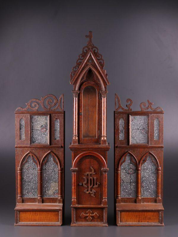 古美術 時代木彫 キリスト教 厨子 ステンドグラス 時代物 古作 極上品 初だし品 a4658