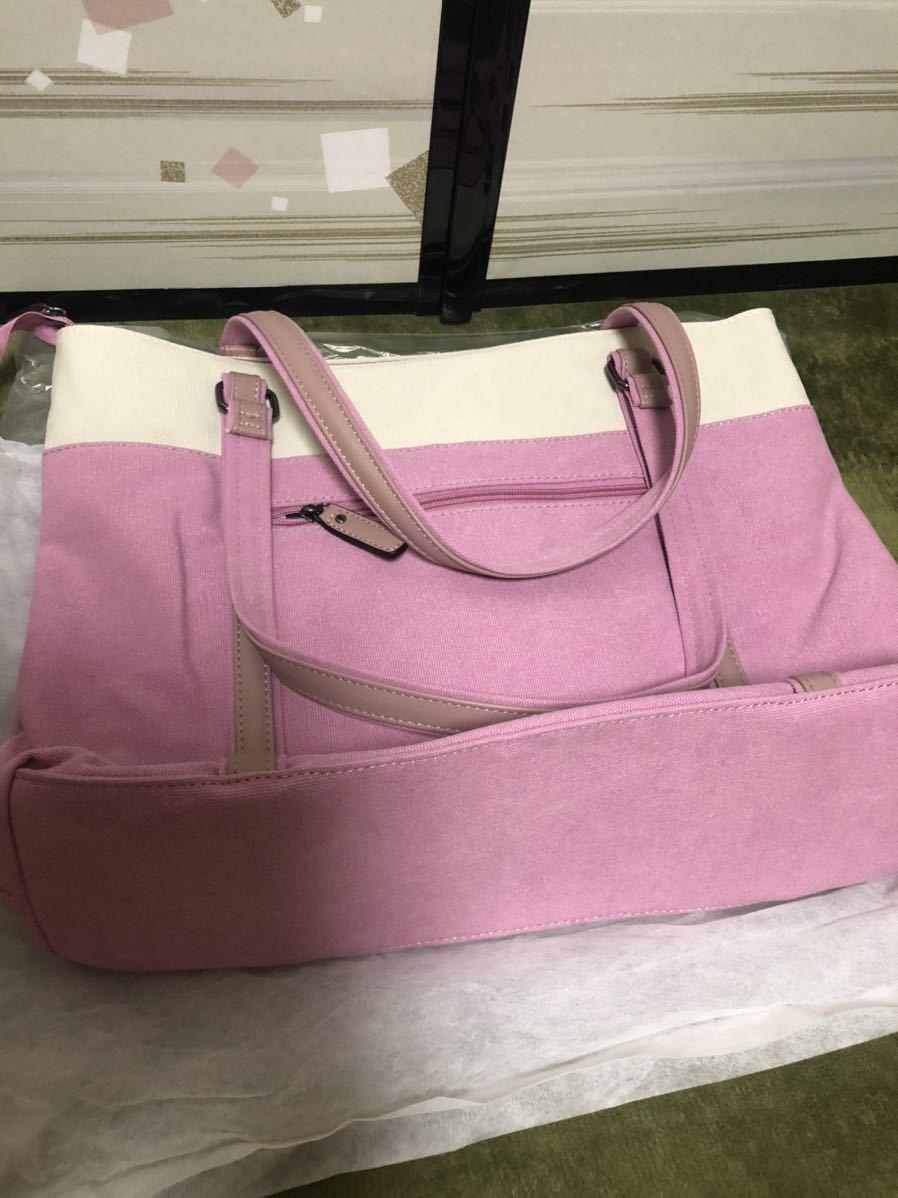 送料無料 おしゃれ トートバッグ キャンバス 大容量 マザーズバッグ ランチバッグ 多機能 手提げ 通勤 通学 旅行 ピンク