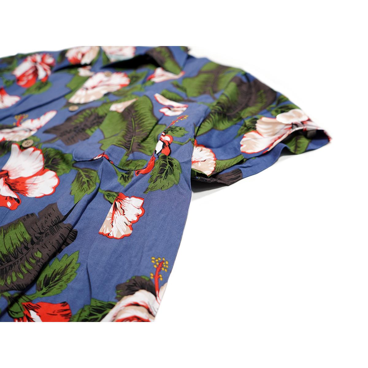 【新品】 アロハシャツ レーヨン フラワー柄■ 4Lサイズ(3XL) / グリーン緑42 ■大きいサイズ ボタニカル 花 オープンカラー b008_画像4