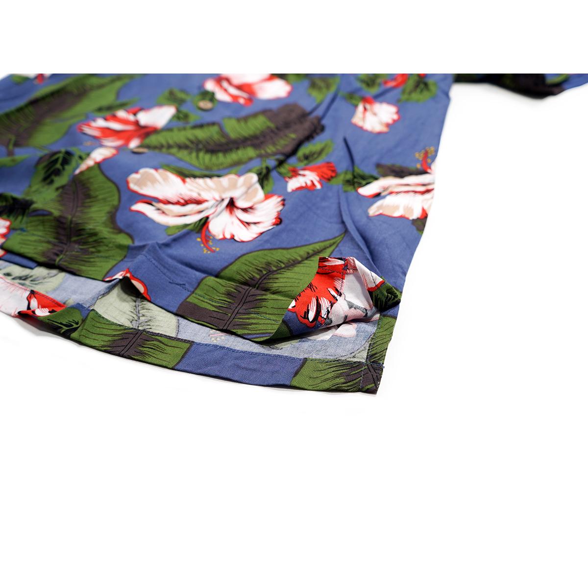 【新品】 アロハシャツ レーヨン フラワー柄■ 4Lサイズ(3XL) / グリーン緑42 ■大きいサイズ ボタニカル 花 オープンカラー b008_画像7
