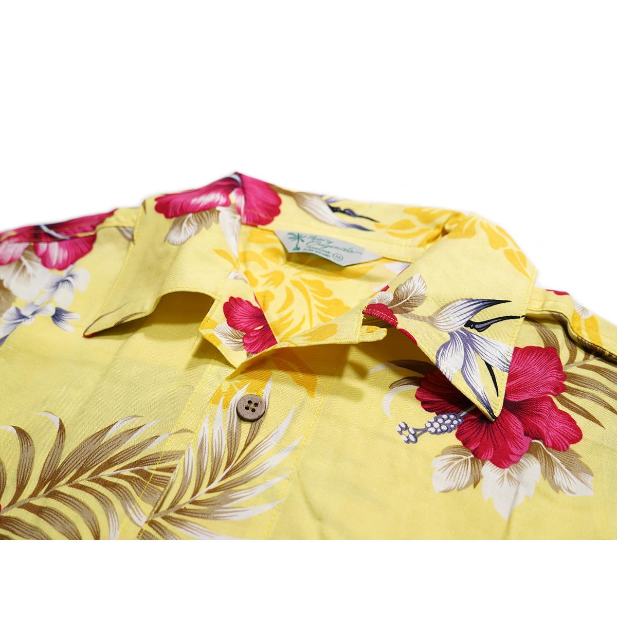 【新品】 アロハシャツ レーヨン フラワー柄■ 5Lサイズ(4XL) / イエロー黄29 ■大きいサイズ ボタニカル 花 オープンカラー b008_画像3