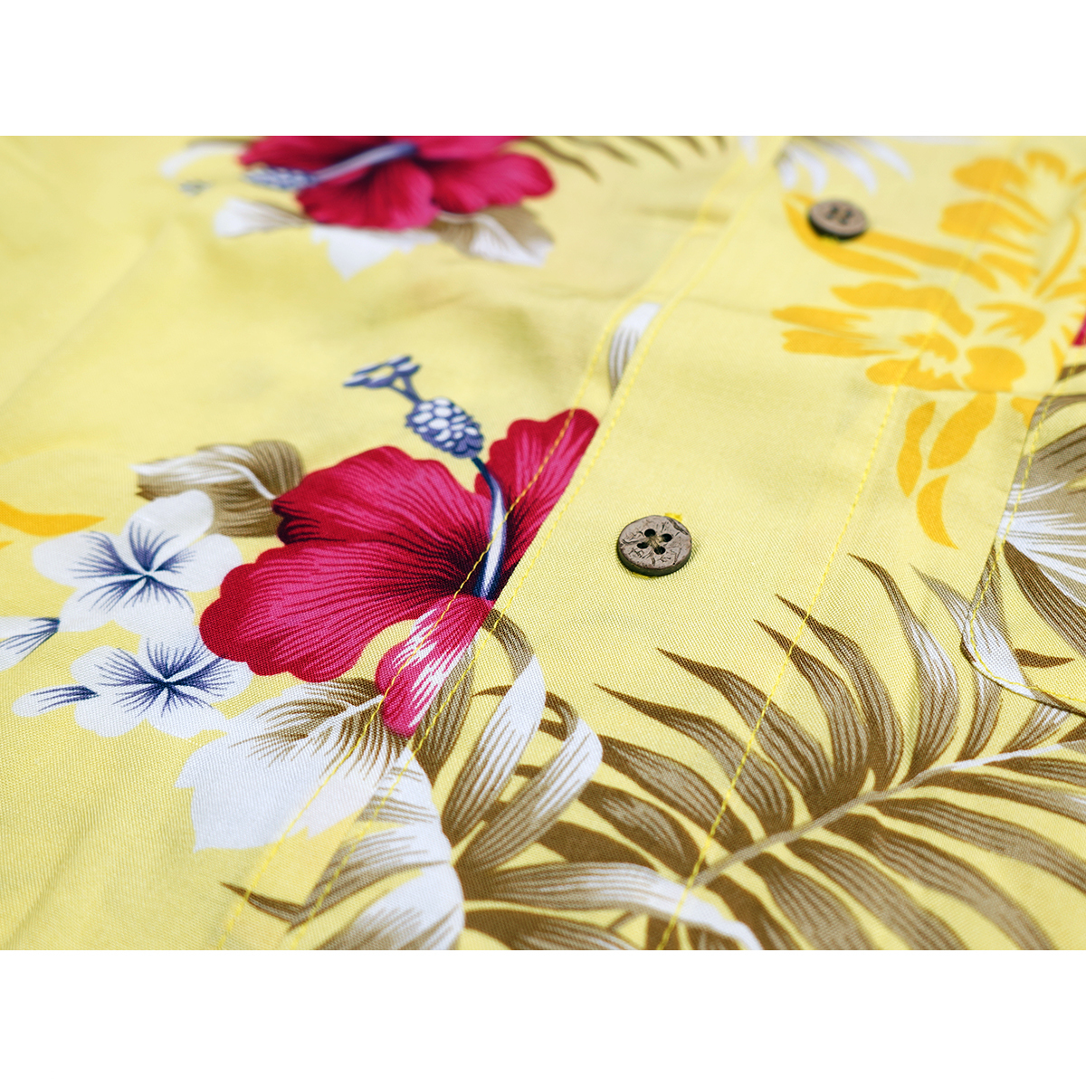【新品】 アロハシャツ レーヨン フラワー柄■ 5Lサイズ(4XL) / イエロー黄29 ■大きいサイズ ボタニカル 花 オープンカラー b008_画像6