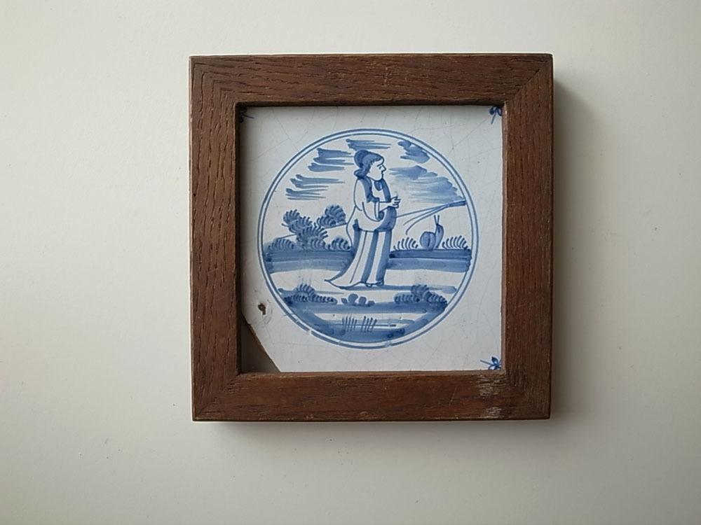 【1000円~】オランダ アンティーク 18世紀 デルフトタイル 額付き