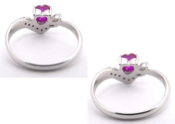 【中古】【程度A】 Pt900 プラチナ900 指輪 レッドストーン(ハート型)  0.87ct  ダイヤモンド 0.11ct ノーブランド リング_画像3