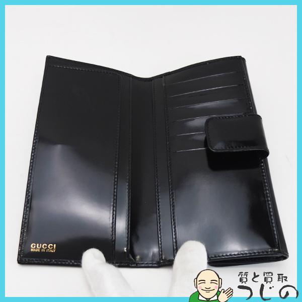 送料無料 グッチ Wホック長財布 エナメル ブラック GUCCI 美品 質屋 神戸つじの_画像5