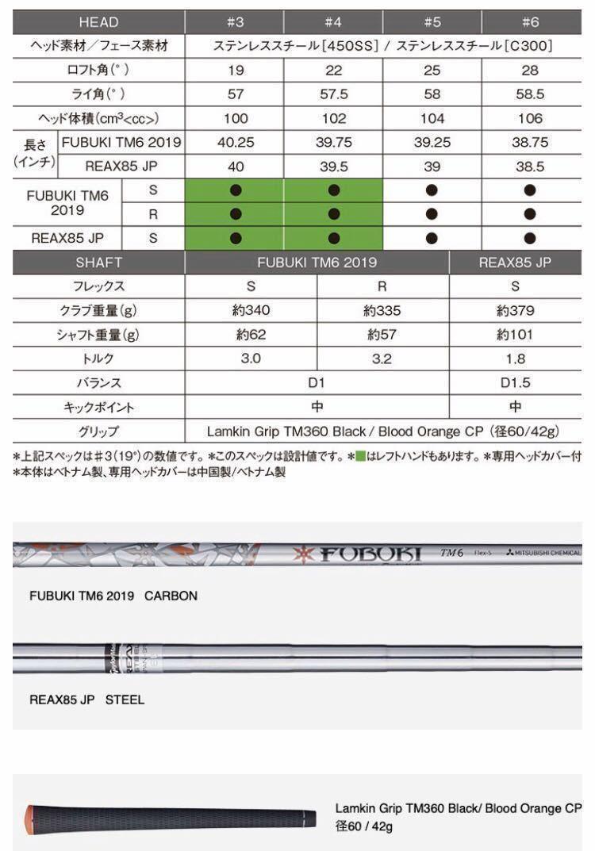 テーラーメイド M6 レスキュー #4 22度 FUBUKI TM6 カーボン S 日本仕様正規品 ユーティリティ フブキ 検索)M1 M2 M3 M5 M4 AD SIM_画像10