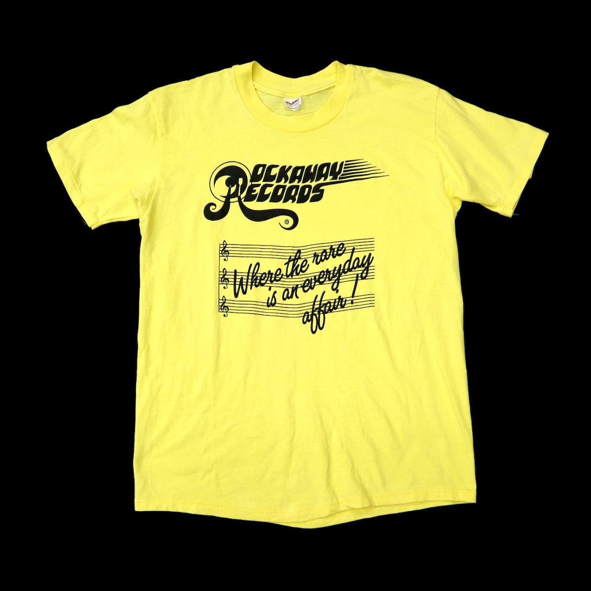 ☆送料無料☆ 80s ビンテージ ROCKAWAY RECORDS Tシャツ レコード店 音楽 ミュージック STEDMAN USA製 80年代 古着 メンズ ロック バンド