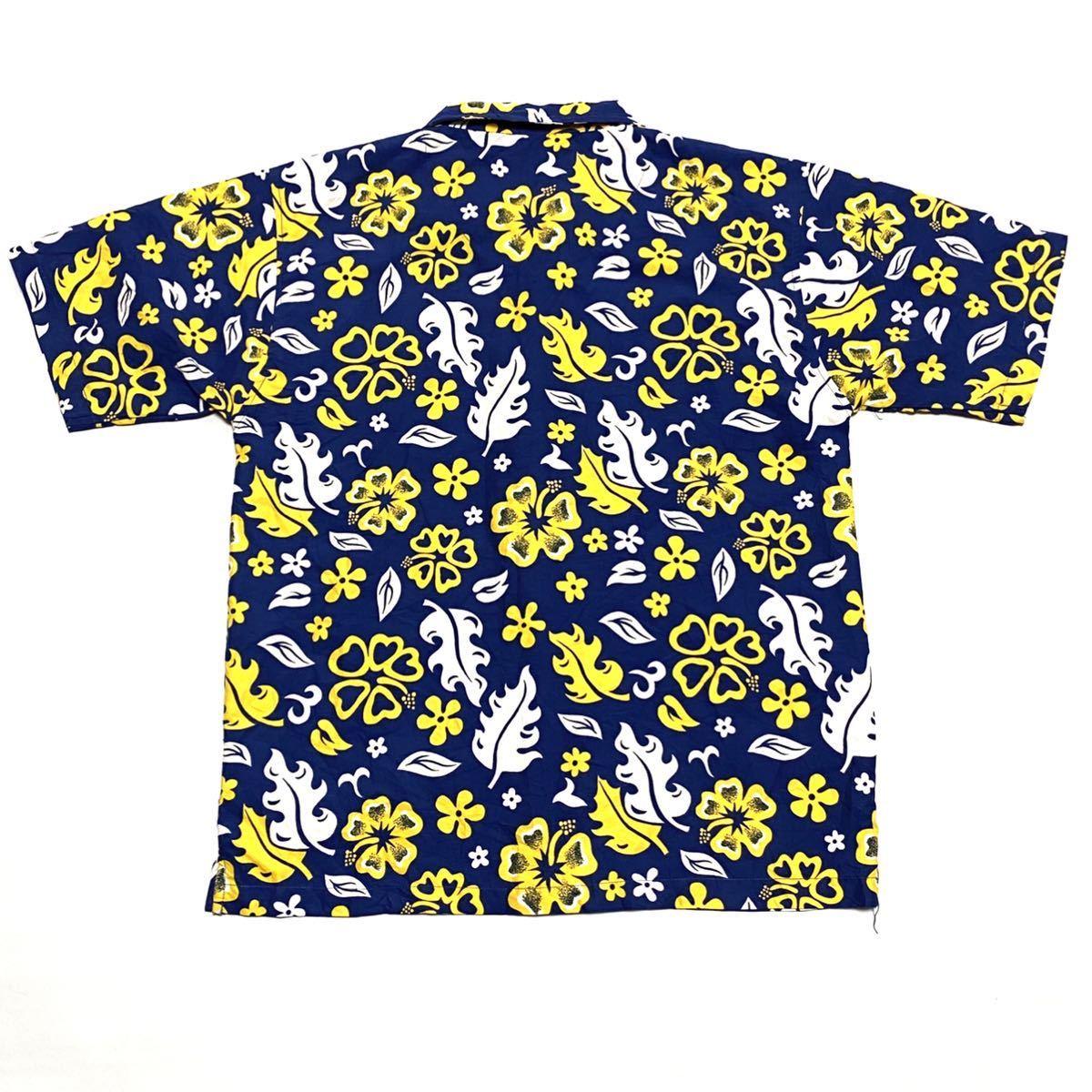 XL相当 liquid アロハシャツ メンズ 花柄 ハイビスカス 即決 ハワイアン シャツ 古着 アメリカ古着