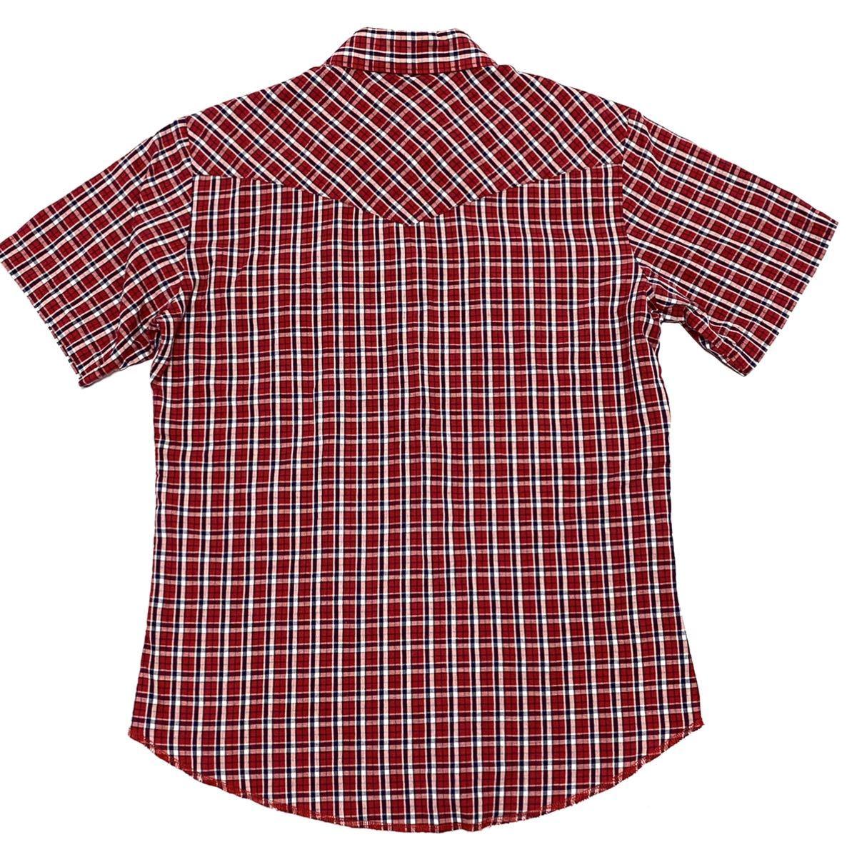 Mサイズ ラングラー ウェスタンシャツ 半袖 チェック アメリカ古着 アメカジ メンズ 即決 美シルエット